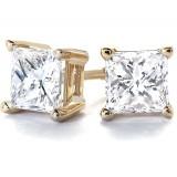 2Ct tw  Princess  Diamond Stud Earrings 14Kt Yellow Gold