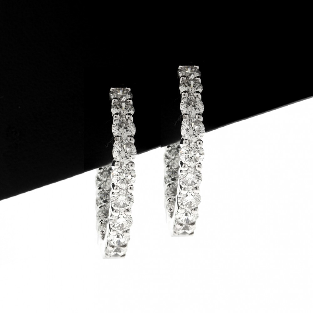 3 66 Cts 18k White Gold All The Way Around Diamond Hoop Earrings Cheap Diamo