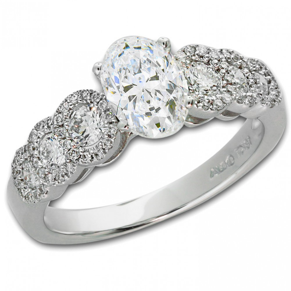 1 97 ct oval engagement ring with side stones